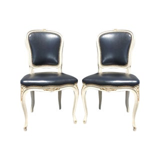Vintage Louis XV Black Leather Chairs - A Pair