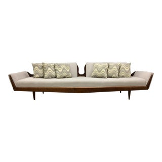 Walnut Accented Sculptural Sofa