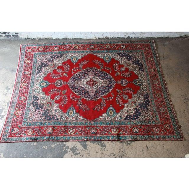 Vintage Hand-Woven Persian Tabriz Rug - 9′10″ × 12′5″ - Image 2 of 8
