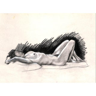 Reclining Nude, 1980 Charcoal Drawing