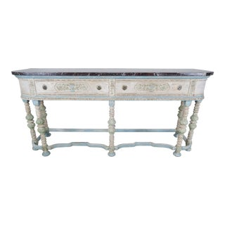 Louis XVI Style Carved Painted Sideboard w/ Marble Top