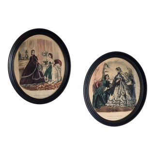 2 La Mode Illustree Framed Original French Fashion Prints, Leroy Imp Paris - A Pair