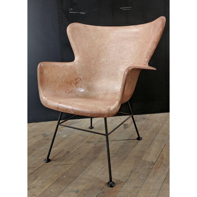 Lawrence Peabody for Selig Mid-Century Wingback Fiberglass Chair - Image 3 of 11
