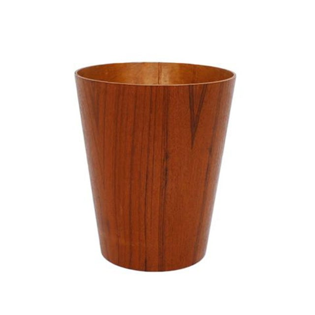 Small Danish Modern Teak Waste Basket - Image 1 of 4