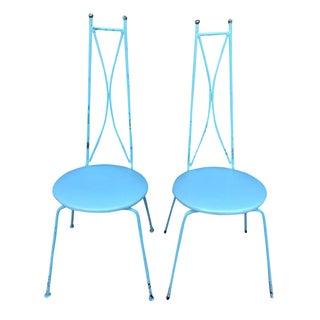 Mid-Century Blue Salterini Style Chairs - A Pair