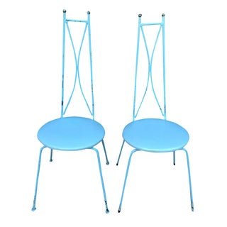 Mid-Century Blue Salterini Style Chairs - A Pair