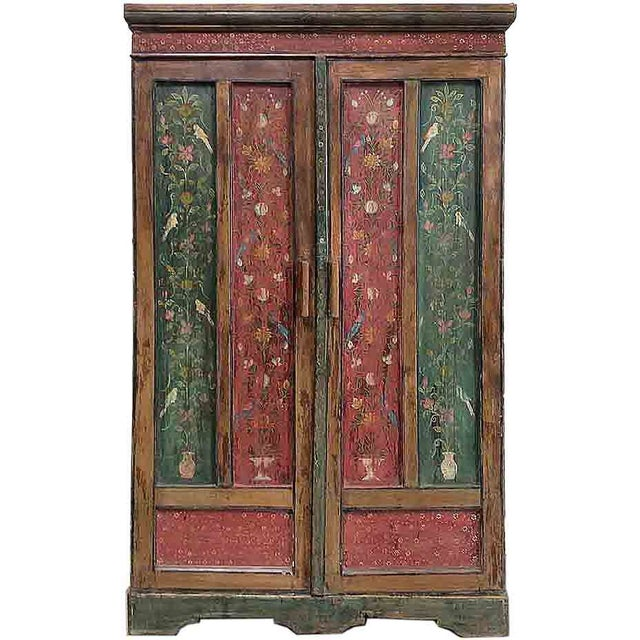 Image of Green & Red Handpainted Armoire