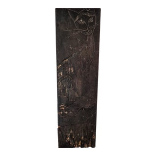 Contemporary Cat Carving Wood Plank