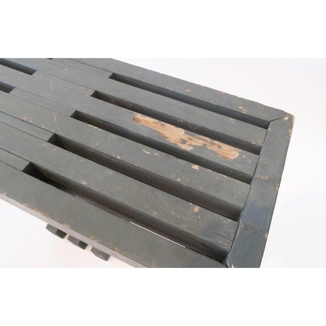 Vintage Gray Wood Slat Bench - Image 5 of 6