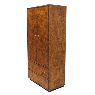 John Widdicomb Burl Wood Chifferobe Chest Cabinet Storage Brass Pulls