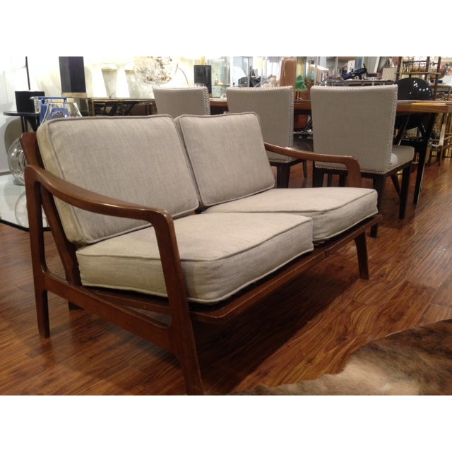 Mid Century Tan & Wood Frame Love Seat - Image 3 of 6