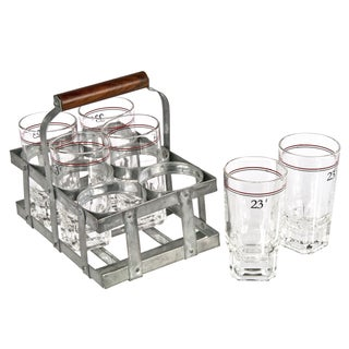 French Wine Glasses in Zinc Caddy - Set of 6
