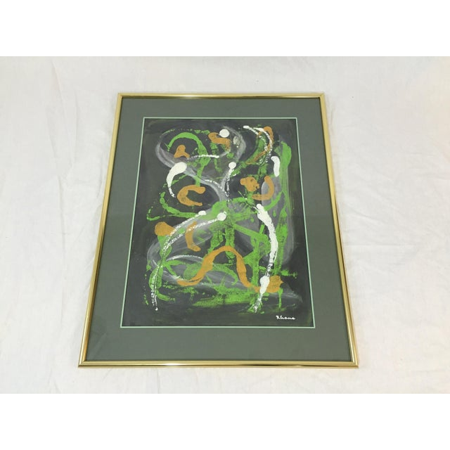 Lisa Rhana Untitled Abstract Green Oil on Paper - Image 2 of 6