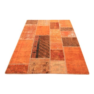 Vintage Turkish Overdyed Patchwork Oushak Rug - 5′ × 6′8″