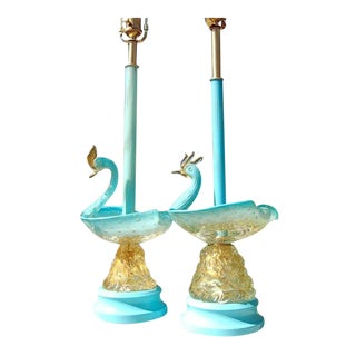 Baby Blue Vintage Murano Swan Lamps