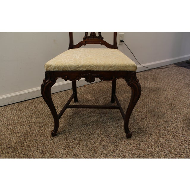 Image of French Flame Mahogany Carved Side/Vanity Chair