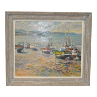 "Henri Plisson ""Coastal Scene"" Original Oil on Canvas C.1970"