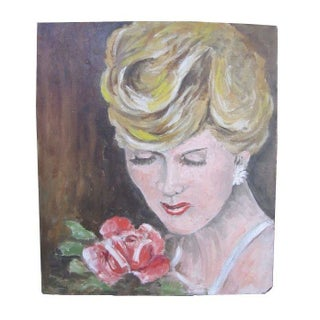 1940's French Portrait of Blonde Woman with Rose