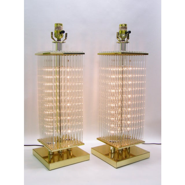 Image of Sciolari-Style Vintage Glass Rod Lamps - A Pair