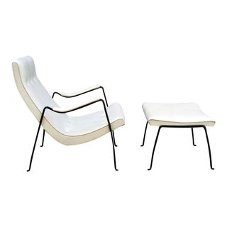 Milo Baughman for Thayer Coggin Wrought Iron Frame Scoop Chair & Ottoman