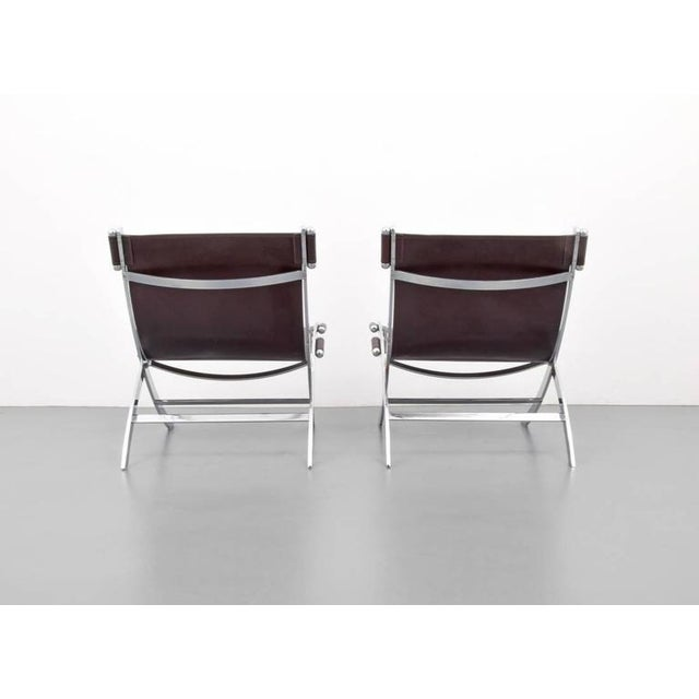 1960s American Paul Tuttle Chrome and Leather Lounge Chairs - A Pair - Image 3 of 4