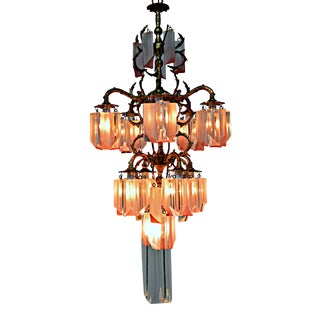 French Brass Chandelier with Lucite Prisms