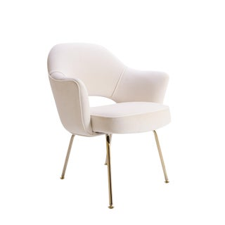 Saarinen Executive Arm Chair in Crème Velvet, 24k Gold Edition