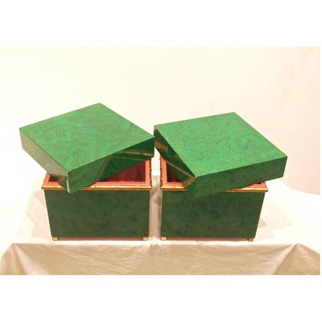 Faux Malachite Boxes - a Pair - Image 3 of 8
