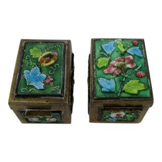 Vintage Cloisonne Stamp Boxes - A Pair
