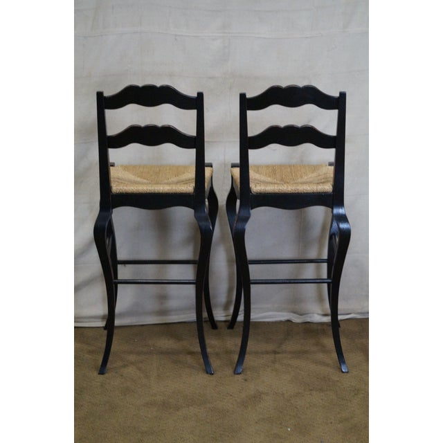 French Country Black Painted Rush Seat Bar Stools A Pair