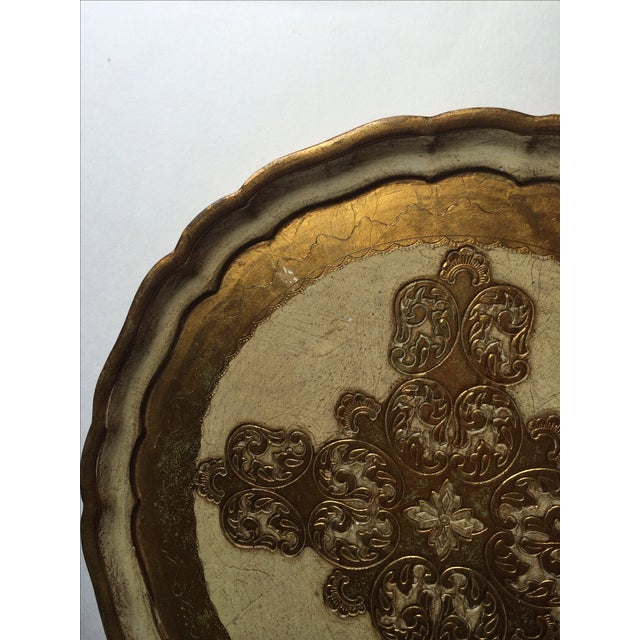 Image of Vintage Florentine Carved Gold and Cream Tray