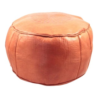 Orange Moroccan Leather Pouf