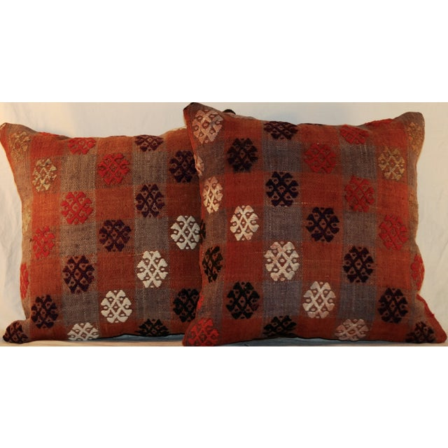 Vintage Handmade Kilim Pillows - a Pair - Image 7 of 7