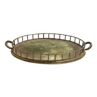 Oval Faux Bamboo Brass Tray