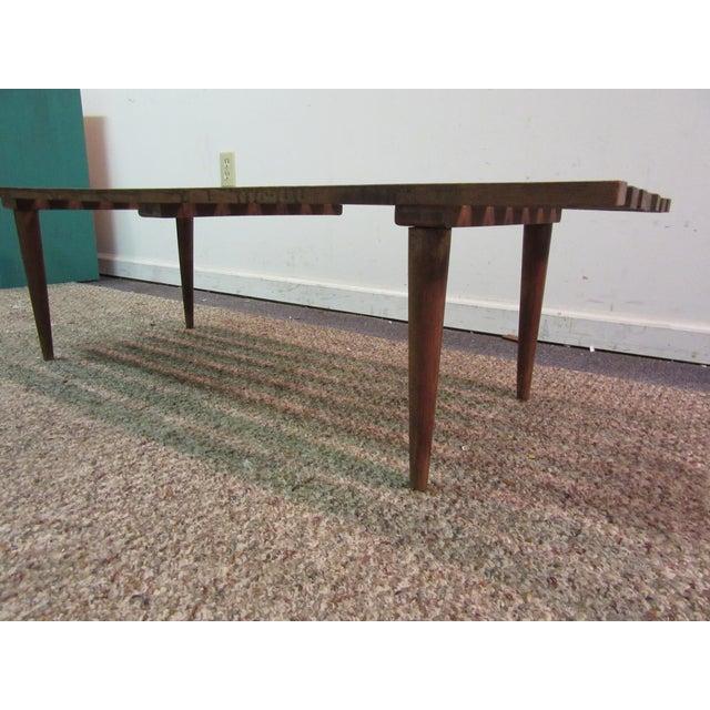 Danish Modern Walnut Slat Bench Coffee Table - Image 4 of 11