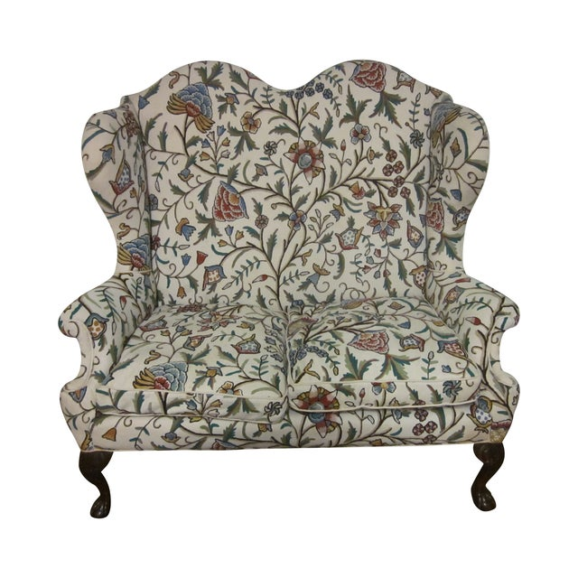Image of Antique English Chippendale High Back Loveseat