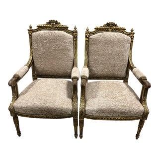 C.20 Ornate Louis XVI Neoclassical Arm-Chairs - a Pair