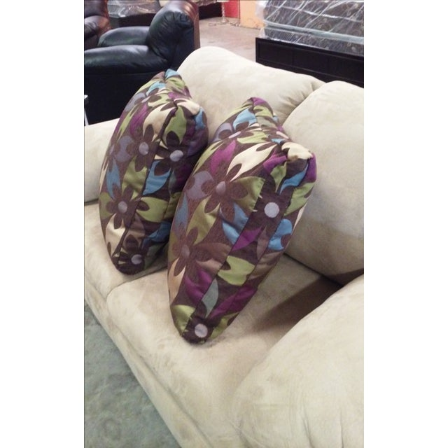 Purple Floral Boho Chic Pillows - Pair - Image 4 of 4