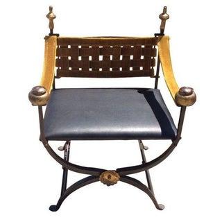 Antique Baroque Iron Velvet Chair