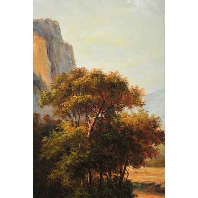 """19th C. Hudson River School """"Waterfall Landscape"""" Oil Painting - Image 3 of 9"""