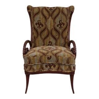 Mid-Century Grosfeld House Mahogany William Morris Fabric Armchair