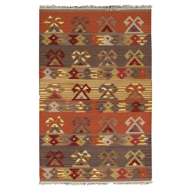 Image of Apadana - Orange 3 x 5 Multicolor Kilim Rug