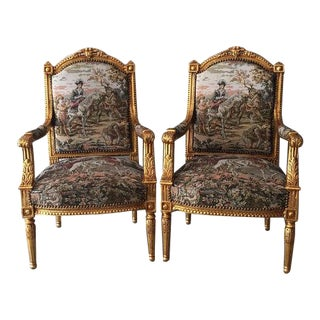 French Louis XVI Chairs in Gobelin - A Pair