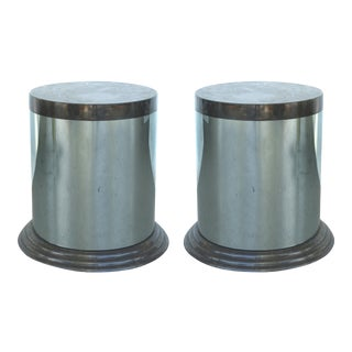 Mid-Century Modern Stainless Steel & Marble Side Tables - A Pair