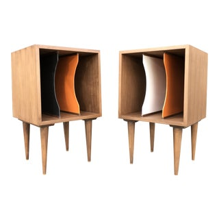 Mid-Century Inspired Record Holders - A Pair
