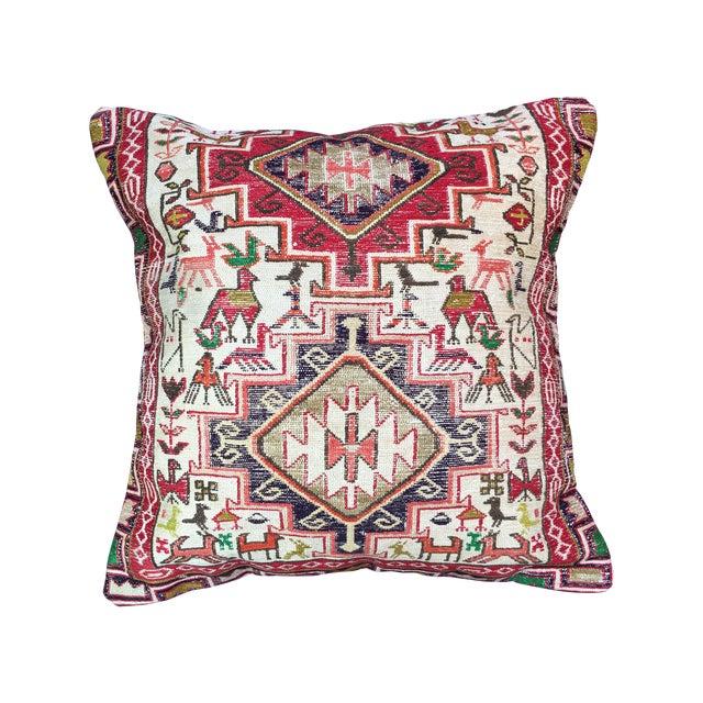 Antique Silk Soumak Rug Floor Pillow - Image 1 of 5