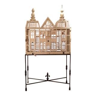 Antique White Deutch Birdhouse on Iron Stand