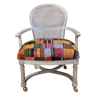 Caned Back Arm Chair Patchwork Hill Tribe Fabric