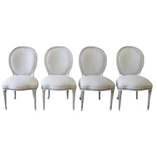 Ej Victor Painted & Upholstered Neoclassical Style Dining Chairs - Set of 4