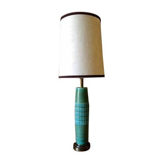 Mid Century Ceramic & Brass Lamp